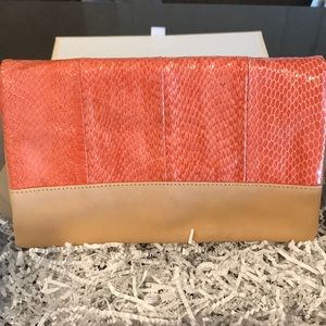 Ann Taylor Leather/two tone Tan Clutch